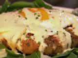 Neelys Egg Benedict on a Pork Croquette