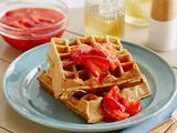 Buttermilk Waffles with Homemade Strawberry Sauce