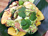 Sweet Banana Tostones with Caribbean Lobster and Hearts of Palm Salad