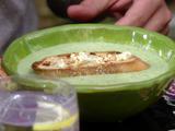 Cucumber-Lychee Gazpacho with Feta Crostini