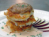 Crispy Potato Pancake with Applesauce and Goat Cheese