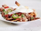 Black Bean and Beef Chilaquiles with Fried Eggs