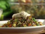 Roasted Vegetable Tabbouleh with Grilled Flat Bread and Yogurt-Tahini Dressing