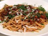Spaghetti with Bacon and Beef Sauce