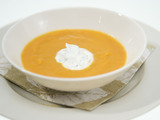 Spiced Carrot Soup with Cilantro Crema