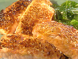 Cashew-Crusted Salmon with Bok Choy
