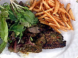 Grilled Argentinian Beef with Chimichurri Sauce and Fried Potatoes
