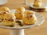Goat Cheese and Sun Dried Tomato Profiteroles with Herb Oil