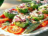 Grilled Avocado, Tomato, Red Onion Salad