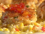 Emeril's Gulfcoast Fishhouse Crab Cakes with Sweet Corn Maque Choux and Tomato Jam