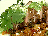 Texas Style Pesto with Pork Tenderloin and Spanish Rice