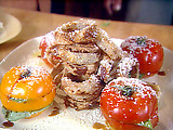 Sliced Heirloom Tomato Stack with Blue Cheese