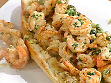 Shrimp Scampi Po-Boy on Garlic Bread