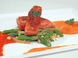 Paprika Seared Salmon with Carrot-Ginger Puree and Red Pepper Coulis