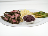 Blue Corn Tortilla Encrusted Rack of Lamb with Horseradish Mashed Potatoes and Balsamic Asparagus