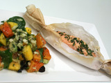 Salmon en Papillote with Papaya, Mango, and Avocado Salad