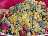 Grilled Corn and Tomato-Sweet Onion Salad with Fresh Basil Dressing and Crumbled Blue Cheese