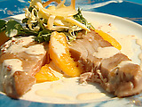 Grilled Tuna and Orange Salad with Candied Lemon and Mixed Baby Greens with Chili Aioli and Herb Tuile