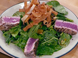 Pepper-Crusted Tuna Salad with Sesame Vinaigrette and Fresh Wasabi Leaves