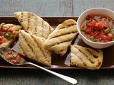 Garlicky Grilled Flatbread Strips with Fresh Tomato Sauce