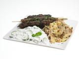 Ground Lamb Kofto Kebabs with Pomegranate Glaze, Bengali-Spiced Potatoes and Persian Cucumber Raita