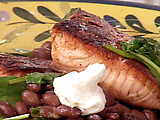 Blackened Salmon with Spinach and Soy Black Beans (Five-minute meal in a pan!)