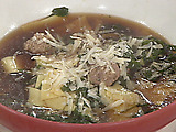Pasta and Swiss Chard in Broth with Meatballs