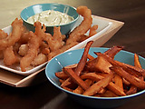 Fried Fish Bites with Sweet Potato Fries and Spicy Mayo