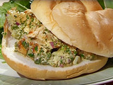 Grilled Chicken Salad with Fresh Herbs and Celery on Toasted Rolls