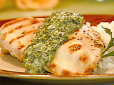Baked Chicken With Green Spinach-Horseradish Sauce