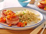 Bacon-Wrapped Scallops with Jalapeno-Papaya Sauce