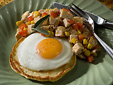 Potato Cakes with Fried Eggs and Turkey-Red Pepper Hash