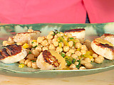Cumin Grilled Sea Scallops with Chickpea Salad and Red Pepper-Tahini Vinaigrette