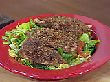 Pecan Crusted Chicken over Field Greens with Caramel Citrus Vinaigrette