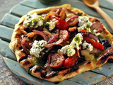 Grilled Pizza with Hot Sausage, Grilled Peppers and Onions and Oregano Ricotta