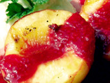 Grilled Peaches with Raspberry Sauce and Lemon Cream