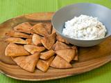 Baked Pita Chips with Charred Three Onion Dip