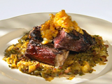 Mini Challenge: Grilled New York Strip Steak with Tennessee Drunken Braised Brussels Sprouts and Bacon Hash and a Spicy Caribbean Citrus Cinnamon Chutney