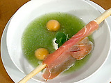 Melon Soup with Prosciutto Breadsticks