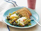 "Zucchini ""Hash Browns"" and Eggs with Berry-Nana Smoothie"