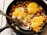 Baked Eggs with Farmhouse Cheddar and Potatoes