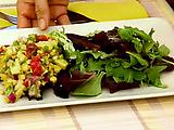 Shrimp and Mango Adobado Salad with Roasted Corn and Avocado Salsa