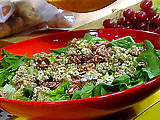 Arugula and Romaine Salad with Walnuts and Blue Cheese Vinaigrette