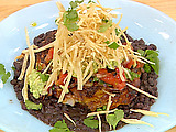 Chili-Rubbed Free Range Chicken with Guacamole and Pico De Gallo, Smothered Black Beans and Tortilla Threads