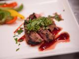 Grilled Hanger Steak with Smoked Veggies, Barbecue Sauce and Southwest Chimichurri