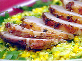 Garlic Crusted Sliced Pork Loin with Fresh Succotash