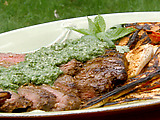 Grilled Flank Steak with Mint-Cilantro Mojo and Grilled Carrots and Parsnips