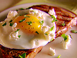 Grilled Tuscan Steak with Fried Egg and Goat Cheese