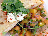 Rock Shrimp Quesadillas with Cantaloupe, Berry, and Peach Salsa