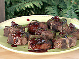 Grilled Lamb Porterhouse with Fig-Cascabel Sauce